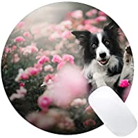 Yanteng Alfombrillas de ratón Redondas de Mousemat, Border Collie de la Flor del Perro casero - Bordes cosidos