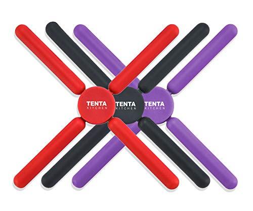 Contiup - Juego de 3 salvamanteles de silicona antideslizantes y plegables para...