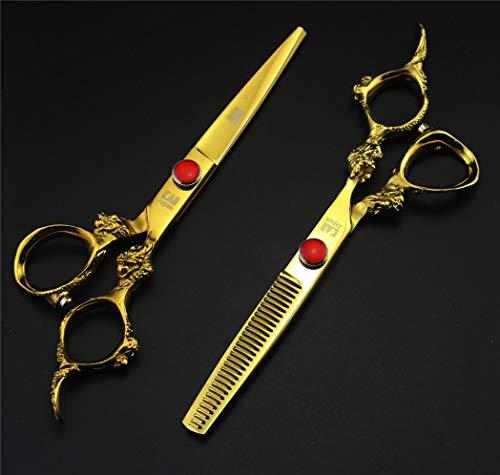 Upscale Professional 6 Inch Japan 440C Golden Dragon Handle Plus Ruby kan worden aangepast, knippen Scharen Uitdunnen 2 stuks (Stuur Package)