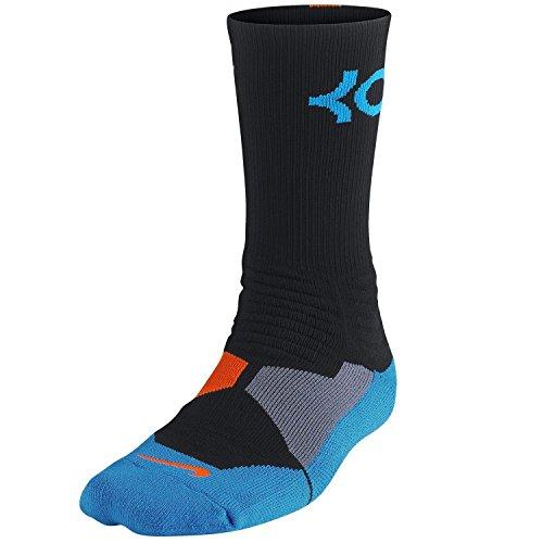 Nike KD Kevin Durant Hyper Elite Basketball Crew Black/Orange/Blue Socks...