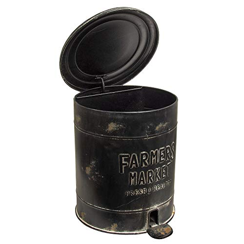 """Primitive Collections Farmers Market Trash Can with Pedal to Open Lid Measures 11.75"""" high by 10.5"""" in Diameter."""