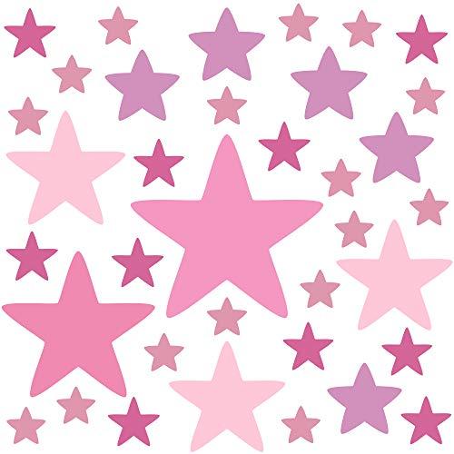 PREMYO 36 Estrellas Pegatinas Pared Infantil - Vinilos Decorativos Habitación Bebé Niña - Fácil de Poner Rosa Pastel