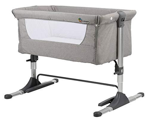 Clamaro 'Panda' 3in1 Baby Beistellbett Reisebett Babybett mit Matratze, 4-fach höhenverstellbar mit Schaukelfunktion und stabilem Alu Rahmen (klappbar) - Zustellbett inkl. Transporttasche