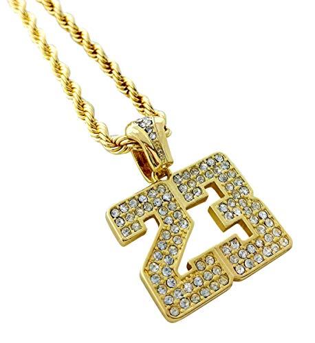 Collar de oro y helado con colgante de número 23 de Hip Hop Jordan