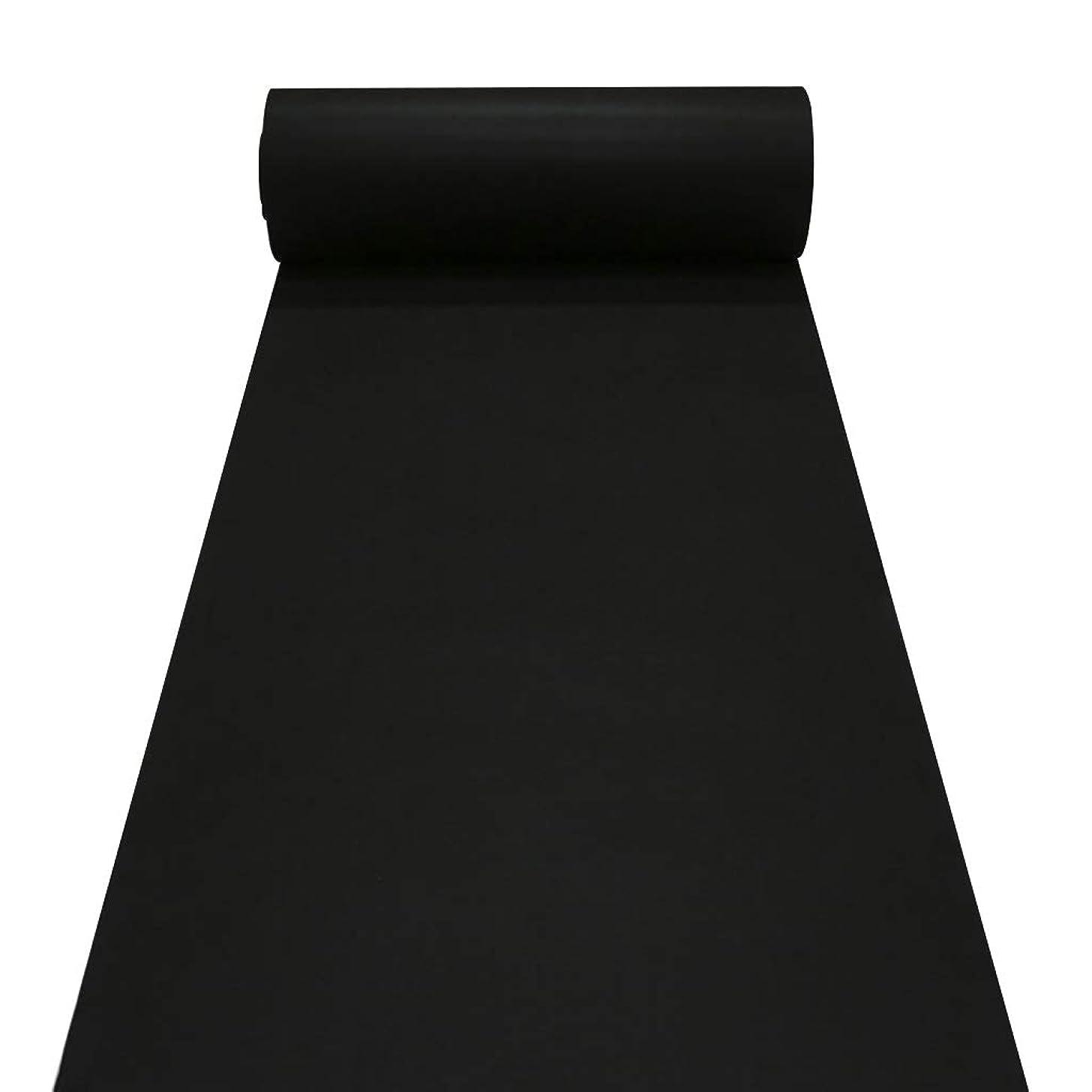 反映する雑多なベットラグランナーバイザフット、厚さ5.5mm、両面、黒ランナーの敷物、教会、廊下、階段、Wedding Aisle Runner (色 : ブラック, サイズ : 1m×30m)