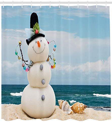 Soefipok Tenda da Doccia Pupazzo di Neve, Tema Vacanza Invernale Pupazzo di Neve con Conchiglie Seduto su Spiaggia sabbiosa costiera, Arredamento Bagno in Tessuto con ami, Sabbia Blu