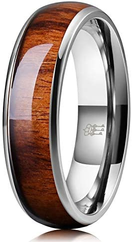 THREE KEYS JEWELRY 6mm Titanium Wedding Band Engagement Ring Silver with Real Santos Rosewood product image