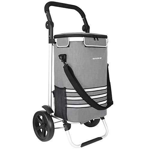 HAYATEC Einkaufstrolley 35L, Einkaufsroller mit Kühlfach klappbarer Einkaufswagen abnehmbare Tasche Handwagen mit Rollen stabil multifunktional 2in1 I Shopping Einkaufs Trolley Grau