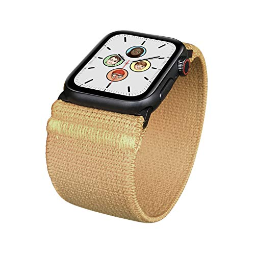ZRDESIGN Wide Elastic Band Compatible for Apple Watch 38mm 40mm 42mm 44mm Women Men Stretchy Strap Replacement for iWatch Series SE 6 5 4 3 2 1 (KHAKI, 38/40MM, S (Wrist Size : 6.0-6.5 inch))