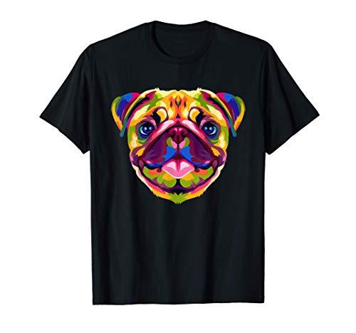 ポップアート パグ かわいい モップ 犬 恋人 ギフト 男性 女性 Tシャツ