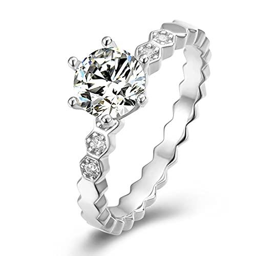 GLYIG Anillo de boda de 1 quilate con diamantes de moissanita, hecho con plata de ley, regalo para boda, compromiso y aniversario, anillos de compromiso moissanita (tamaño: 7,25)