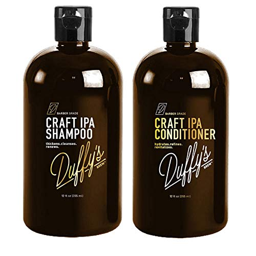 Duffy's Brew Craft Beer Conditioner and Shampoo - Sulfate, Paraben & Phthalate Free Hair Care + 100% Vegan Hair Shampoo that Moisturizes, Nourishes, Seals, Protects & Color Safe (24 OZ Shampoo & Conditioner)