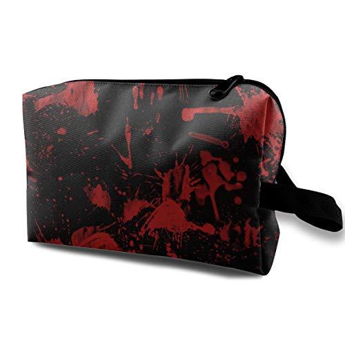 Makeup Bag Cosmetic Toiletry Travel Bag Classic Horror Blood Splatter Black Red Organizer Pouch For Women Men
