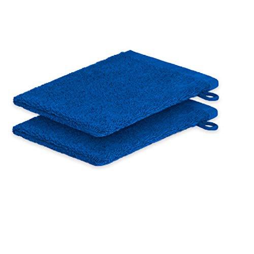 Lot de 2 gants de toilette ExKLUSIV HEIMTEXTIL 15 x 21 cm 500 g/m², bleu roi, 2x Waschhandschuh 15 x21 cm