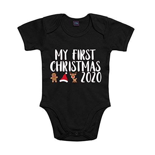 Shirt-Panda Jungen Mädchen Baby-Body · My First Christmas 2020 · Winter Weihnachtsbody · Strampler für erstes Weihnachten · Babybody Bedruckt · Weihnachtsstrampler mit Spruch · Schwarz 6-12 Monate