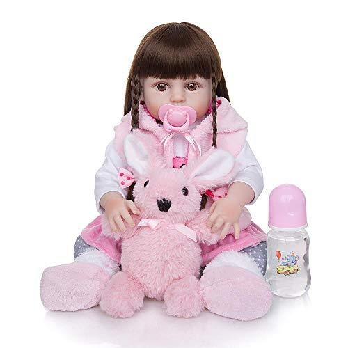Boneca Bebe Reborn 49cm Corpo Silicone Pode dar Banho Acessorios Ursinho Chupeta Magnetica