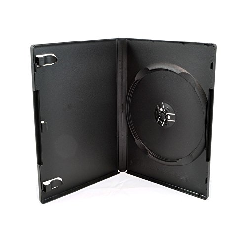 Maxtek 100 Pack Standard 14mm Black Signle Disc DVD Cases with Outer Clear Sleeve, Machine Pack Grade, 100% New Plastic Material!