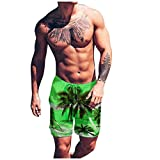Hmlai Clearance Men's Swimming Trunks with Pockets Quick Dry Casual Waterproof Surfing Beach Swimwear Mesh Lining Shorts (L, Green)