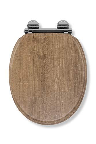 Croydex WL602086H Flexi-Fix Ontario Always Fits Never Slips Slow Close Anti Bacterial Toilet Seat, Wood, Teak Effect, 45 x 37.8 x 6 cm