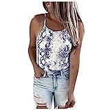 Bilbull Camisetas de mujer de un solo color, bordadas, equipadas, con volantes, sexy, de un solo color, sin nudos, elegantes camisas de verano, azul, XL