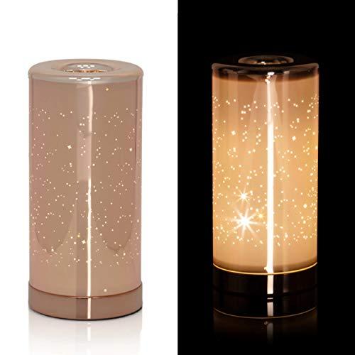 Dekorative, moderne Tischlampe mit LED Beleuchtung und zauberhaften Glitzereffekten - Dekolampe mit 30 warmweißen LED's (Rosegold)