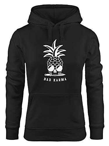 Neverless® Hoodie Damen Totenkopf Ananas Schriftzug Bad Karma Kapuzen-Pullover schwarz M