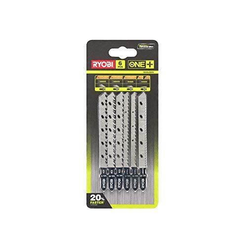 Ryobi 5132002810 - Hoja de sierra de calar TLG. RAK6JSBW - Juego de 6 hojas de sierra para madera para sierra de calar One + sistema | Fijación universal | con hojas finas | 6 piezas