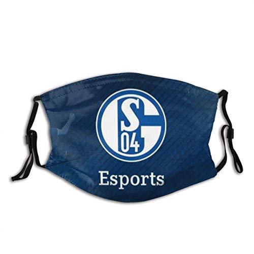GABRI Mundschutz Gesichtsschutz Schalke 04 Fußballmannschaft Logo 3 Antistaub Waschbar und Wiederverwendbar Bandana mit Filtern