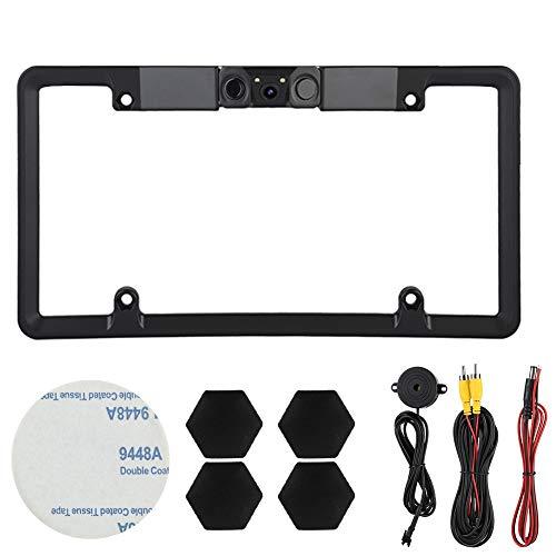 3 in 1 2LED Car License Plate Frame Parking Sensor Radar Rearview Reverse Backup Camera