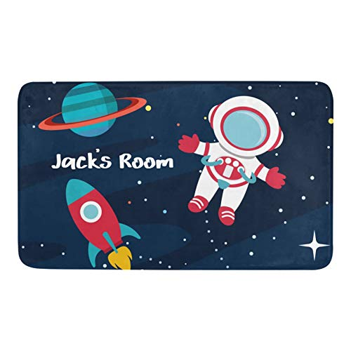 Qearl Astronaut Outer Space Rocket Ship Personalized Rug Doormat Indoor Outdoor Entrance,Custom Anti-Slip Bath Floor Kitchen Rugs Door Mat 23.6 X 15.7 Inches Entryway Home Decor