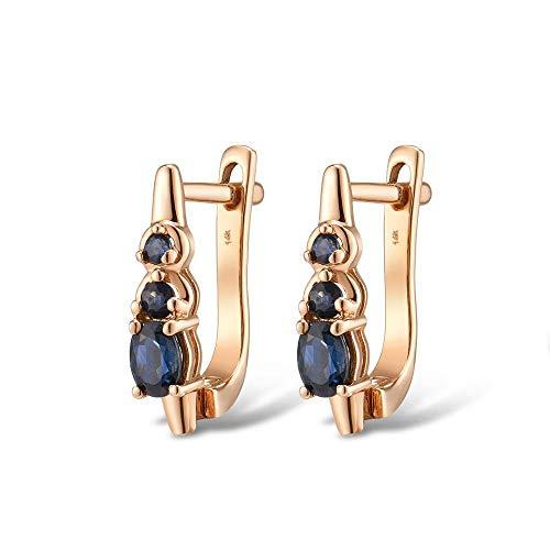 MZNSQB Goldohrringe für Frauen 14 Karat 585 Roségold funkelnder Blauer Saphir Eleganter Diamant-Hochzeitstag-feiner Schmuck