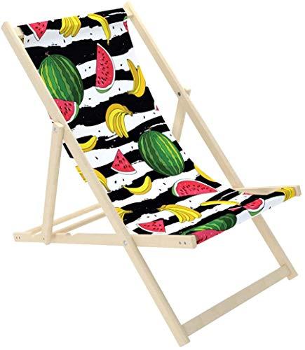 Novamat – Tumbona de jardín de madera, plegable, tumbona de relax, silla de playa, Frutas.