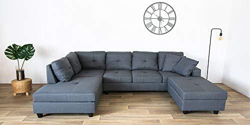 Canapé d'angle 6 places Gris Tissu Panoramique