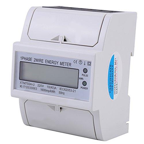 Compteur d'énergie électrique 10V-40A kWh XTM75SA-U 220V LCD Numérique Monophasé 4P sur rail DIN