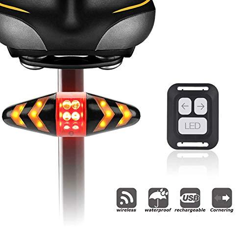 Fiets achterlicht knipperlichten, USB-oplaadbaar fietsachterlicht met draadloze afstandsbediening, IPX2 waterdichte led-fietsachterlichten keerlichten - voor fietsen, kamperen enz.