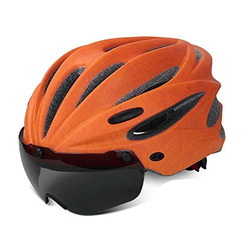 XYBB Casco Bicicleta Casco de Ciclismo con Visera Moldeado Integral para MTB Bicicleta de Carretera Casco de Bicicleta Naranja