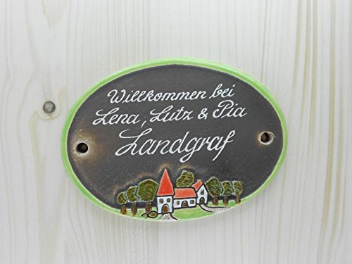 Türschild Keramikschild kleines Dorf wetterfest Keramik Haustürschild Gravur