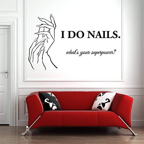 Calcomanía de pared para salón de uñas, pegatina de pared a juego con la mano, patrón de esmalte de uñas, peluquería, arte de belleza