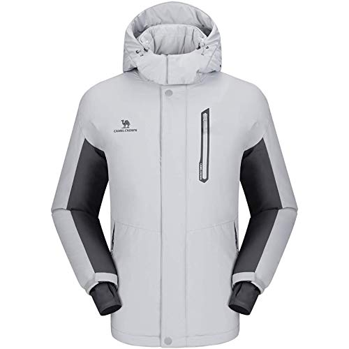 CAMEL CROWN Men's Mountain Snow Waterproof Ski Jacket Detachable Hood Windproof Fleece Parka Rain Jacket Winter Coat (Light Gray, Medium)