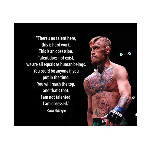 Conor McGregor Quotes Wall Art-'No Talent Here-This Is An Obsession'-10x8' UFC Fighter Poster Print-Ready to Frame. Motivational Decor for Home-Office-School-Cave-Gym. Great Gift for MMA Fans!