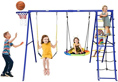 Trekassy 440lbs Swing Set with Heavy Duty A-Frame Metal Swing Stand, 1 Saucer Swing, 1 Belt Swing, 1 Climbing Net, 1 Climbing Ladder, 1 Basketball Hoop
