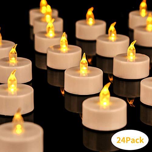 DATO Lot de 24 Bougies /à LED Piles avec Lumi/ère Vacillante sans Flammes avec T/él/écommande LED Candle Lights La Lumi/ère Blanc Clignotement Lent