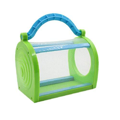 Odoukey Jaula de Insectos Transparente de plástico Transpirable portátil Jaula Critter Insecto al Aire Libre para la Educación la Ciencia Azul Herramienta de niños