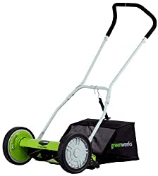 in budget affordable Greenworks 16 inch 25052 Cylinder lawn mower with grass catcher