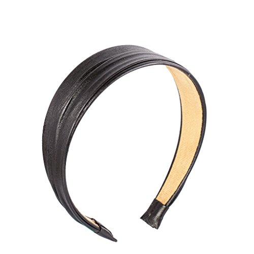 Kunstleder Haarband Stirnband Haarketten Headband Kopfschmuck Haarschmuck - schwarz