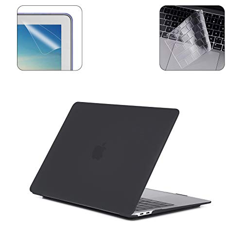 i-Buy MacBook Pro 15 Case 2019 2018 2017 2016 Release A1990 A1707, Hard Case Shell + Keyboard Cover + Screen Protector Compatible with Macbook Pro 15 Inch with Touch Bar and Touch ID - Black