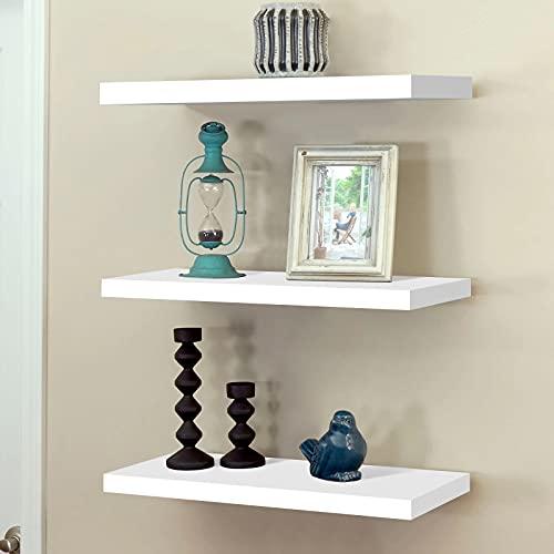 Set of 3 Floating Wall Shelves,Wall Mounted Shelf,Wood Wall Storage Shelves,Display Racks Book Hanging Shelf,White.