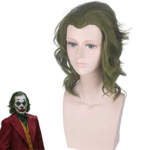 Joker Origin pelcula payaso Joker peluca Cosplay disfraz Joaquin Phoenix Arthur Fleck rizado verde pelo resistente al calor pelucas
