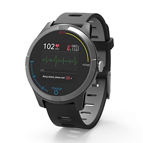 PRIXTON – Reloj Inteligente Smartwatch para Android e iOS con Electrocardiograma, Presión en Sangre, Pulsometro, Resistente a Salpicaduras, Pulsera de Actividad para Hombre y Mujer | SWB28