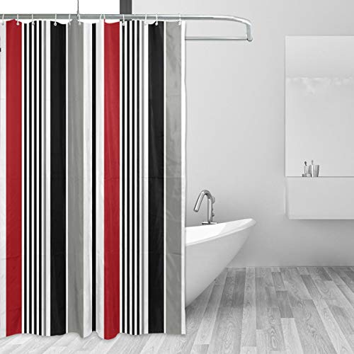 Moderner Duschvorhang wasserabweisend schwarz gestreift rot weiß grau vertikal 167,6 x 182,9 cm Vorhang für Badezimmer Heimdekoration